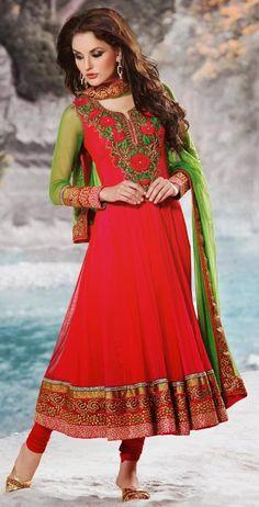 $172.96 Red Net Thread Work Full Sleeve Anarkali Salwar Kameez 26169