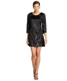 JB by Julie Brown black and gunmetal sequin 'Maggie' long sleeve shift dress