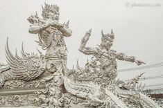 white temple guards - Google Search White Temple, Chiang Rai, Character Inspiration, Surrealism, Thailand, Lion Sculpture, Creatures, Statue, City