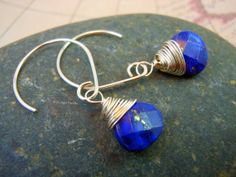 Lapis Faceted Briolette Sterling Silver Wire by keywestdesigning, $26.00