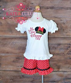 Girls Minnie Mouse Outfit - Disney Outfit - My first Disney Trip on Etsy, $34.00