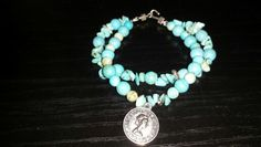 bracelet semi-precious stone turquoise