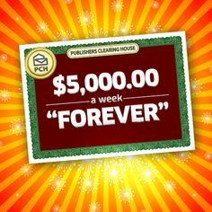pch a week forever Instant Win Sweepstakes, Online Sweepstakes, Lotto Draw, 10 Million Dollars, Win For Life, Winner Announcement, Publisher Clearing House, Congratulations To You, Winning Numbers