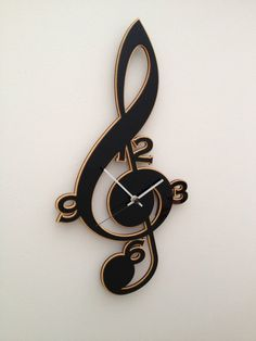 Clef Music Clock by neltempo on Etsy Bath Room Shelves Black Wall Colors 70 Ideas For 2019 A Dark and Moody Home in England Dremel, Music Clock, Wall Watch, Cool Clocks, Diy Clock, Music Decor, Wooden Clock, Scroll Saw Patterns, Etsy