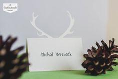 Wedding place card with deer, antlers. / Winietki z motywem jelenia.