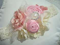 Baby Headband, Baby Headband, Rosette Headband, Headband, Children, Special Occasion, Photo Prop / Pink and Cream Rosette Headband on Etsy, $26.95
