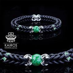Black Burma Jade pearl bracelet with green Swarovski Zirconia and silver elements. Designer fashion bracelet by KAIROS. Swarovski Bracelet, Pearl Bracelet, Fashion Bracelets, Pandora Charms, Jade, Charmed, Pearls, Green, Silver