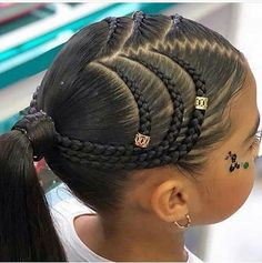 The Cornrow Killas on Ins - Babys Hair-Styles Try On Hairstyles, Natural Hairstyles For Kids, Kids Braided Hairstyles, Box Braids Hairstyles, Little Girl Hairstyles, Braided Ponytail, Small Braids, Braids For Kids, Girls Braids