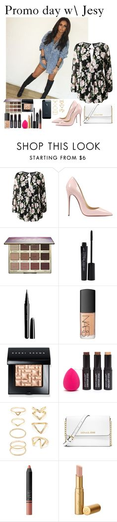 """""""Promo day with Jesy"""" by music-lover1d ❤ liked on Polyvore featuring Christian Louboutin, tarte, Smashbox, Marc Jacobs, NARS Cosmetics, Bobbi Brown Cosmetics, Forever 21, MICHAEL Michael Kors, women's clothing and women"""