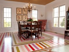 Wow... look where this floor took this otherwise totally traditional room.  No window treatments also adds to the modernization...