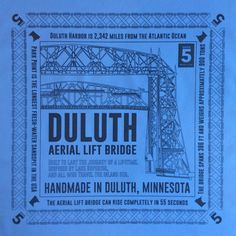 100% cotton bandannas with a unique illustration of the Duluth Aerial Lift Bridge. New colors for Summer 2018 - Sky Blue, Sage Green, Orange, and Black.