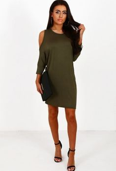 It's Complicated Khaki Cold Shoulder Oversized Top