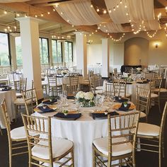 Here is the beautiful set up from the wedding reception last night for Maura and Garrett Peterson. Navy blues, ivory, golds, bistro lighting, and lots of succulents made our Merienda room look gorgeous. #carmelvalley #carmelwedding #destinationwedding #succulents #bistrolights #weddingflowers #gold #chiavarichairs #wedgewoodwedding #wwcarmel