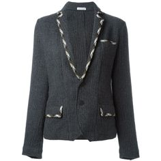 Tomas Maier contrast trim blazer ($436) ❤ liked on Polyvore featuring outerwear, jackets, blazers, grey, grey blazer, blazer jacket, gray jacket, tomas maier and grey jacket