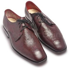 Dark Red Semi-casual Leather Derby Shoes Dark red leather shoes for a formal makeover The stylish exterior is amazing in terms of looks Black lacing to compliment redleather Even the heels in black undertones for a formal touch The polished and shiny exterior is treat for the eyes The insole is light cream colour for