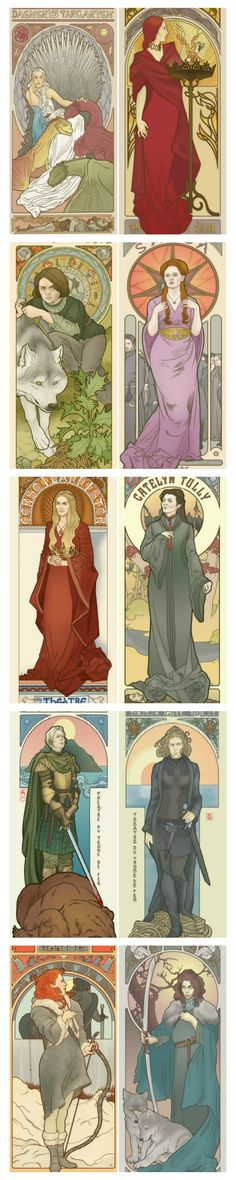 hese Art Nouveau style prints of the women from Game Of Thrones from artist Elin Jonsson from Society6 are absolutely stunning!  #gameofthrones #asoiaf