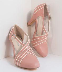 1940s Womens Footwear Vintage Style Dusty Pink Ivory Leatherette DOrsay Heels $64.00 AT vintagedancer.com