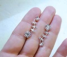 Delicate flower ear pins, silver vine ear pins, cubic zirconia earrings, crystal ear wraps, silver earrings, gift for her