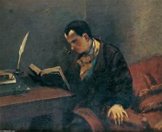 'Porträt von Baudelaire', öl auf leinwand von Gustave Courbet (1819-1877, France)