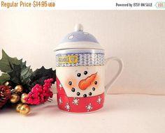 Snowman Mug Covered Jar Ceramic Winter Tableware Christmas