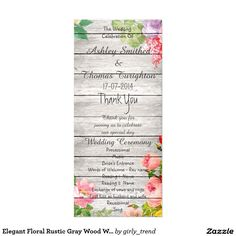 Elegant Floral Rustic Gray Wood Wedding Programs Full Color Rack Card