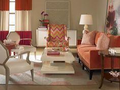 Interior Designs,Beautiful Monochromatic Interior Design With Cream Wall Paint Living Room Decor On Combined Cream Rug And Enchanting Red Sofa Also Charming White Padded Arm Chair Plus Pretty White Stand Lamp,Picturesque Monochromatic Interior Design Living Room Paint, Living Room Furniture, Living Room Decor, Dining Room, Cool Furniture, Furniture Design, Furniture Ideas, Living Room Orange, Colorful Interior Design