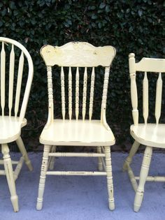 Shabby Chic Chairs, Set of 6,   Mix and Match,CUSTOM Vintage Chairs, Spindle Chairs, French Country Kitchen Chairs (Los Angeles)