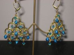 goldtone blue bell with crystal chandelier earrings hand made