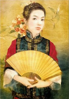 Abraxsis Der Jen ~ Love stories in the Forbidden City Claude Monet, Pablo Picasso, Geisha Art, Art Asiatique, Hand Held Fan, China Art, Love Illustration, Creative Pictures, Art For Art Sake