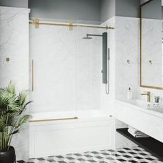 Delta Classic 400 Curve 60 in. x 62 in. Frameless Sliding Tub Door in Stainless-B55910-6030-SS - The Home Depot Tub Shower Doors, Bathtub Doors, Frameless Sliding Shower Doors, Bathtub Shower, Bathtub Tile, Contemporary Bathtubs, Gold Shower, Small Bathroom, Bathroom Ideas