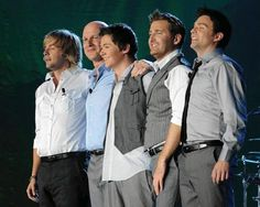 these gents are the original five members of Celtic Thunder l to r they are Keith Harkin, George Donaldson, (now deceased) Damian McGinty, Paul Byrom, Ryan Kelly. Folk Music, Music Tv, Ryan Kelly, Irish Singers, Celtic Music, Irish Boys, Irish Men, Celtic Thunder, I Love Music