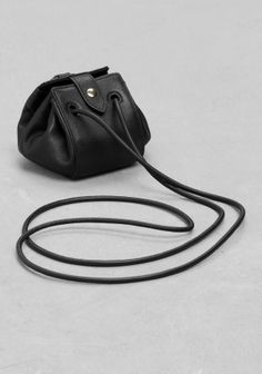 & Other Stories image 2 of Small Leather Drawstring Pouch  in Black