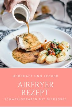 Rezept Schweinsbraten mit Biersoße aus dem Philips Airfryer XXL Camembert Cheese, Food, Pork Roast, Beer, Meat, Food And Drinks, Meals, Yemek, Eten