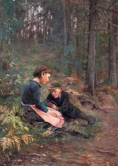 Elisabeth Warling (Swedish painter) 1858 - 1915 Children Picking Berries, 1888