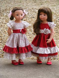 Christmas dresses for a friend, photo pam elliott Doll Dresses, Flower Girl Dresses, Doll Fancy Dress, Gotz Dolls, Christmas Dresses, Knit Shoes, Cat Doll, Friend Outfits, Girl Doll Clothes