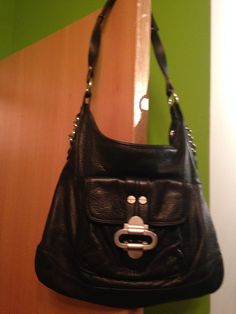 Womens Genuine Leather Black Medium Shoulder Bag