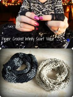 How to Finger Crochet a scarf. Pretty clear directions.  Maybe I should try it