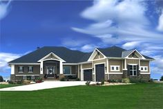 This lovely Ranch style home with Craftsman influences (House Plan has 2405 square feet of living space. The 1 story floor plan includes 3 bedrooms. Craftsman Style Homes, Ranch Style Homes, Craftsman House Plans, Craftsman Ranch, Ranch House Plans, House Floor Plans, Luxury House Plans, Story House, The Sims