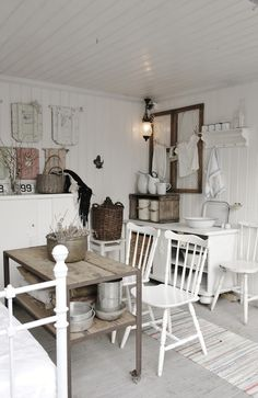 Vintage inspired interior.... #upcycle, #vintage #thrift ..... clean, white with a mix of weathered wood = Lovely!