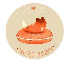 Thai Tea, Matcha, Vanilla Chai Tea, Honey Milk and Milk Tea Foxes GIF Doodles © 2016 Nadia Kim Thai Tea Fox ...