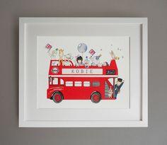 personalised london bus nursery print by daisy & bump nursery art | notonthehighstreet.com