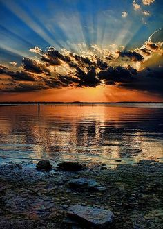 ~~A Rockin' Sunset | crepuscular rays at Lake Eufaula, Oklahoma | by Carolyn Fletcher