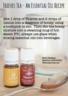 Stop a sore throat in its tracks with this soothing hot tea using Young Living Thieves and Lemon essential oils.