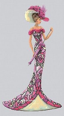 Elegant Lady In Pink Cross Stitch Chart
