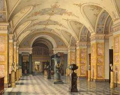 К. А. Ухтомский Зал IV библиотеки Акварель, лак. 330x409. 1855 г.
