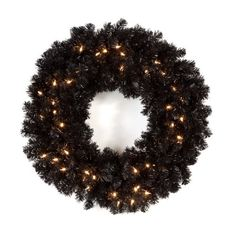 Finley Home Classic Pre-lit Black Wreath, 24 in. - http://www.christmasshack.com/christmas-wreaths/finley-home-classic-pre-lit-black-wreath-24-in/