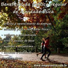 A atividade física juntamente com uma alimentação saudável trazem benefícios para sua saúde! Confira alguns desses benefícios e compre online produtos saudáveis para sua alimentação!   Acesse: www.emporioecco.com.br