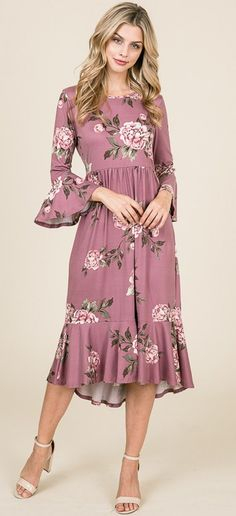 65e35a1f6925 Belle Dress (Mauve Floral) – ModestPop.com Black Dress With Sleeves, Chiffon