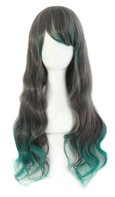 MapofBeauty 26 65cm Wavy Lolita Costume Cosplay Wig (Black/ Diamond Green) *** This is an Amazon Affiliate link. More info could be found at the image url.