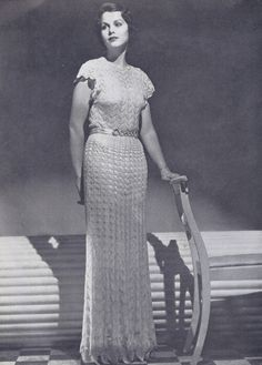 Vintage 1930s Lace Evening Gown Dress Knitting Pattern